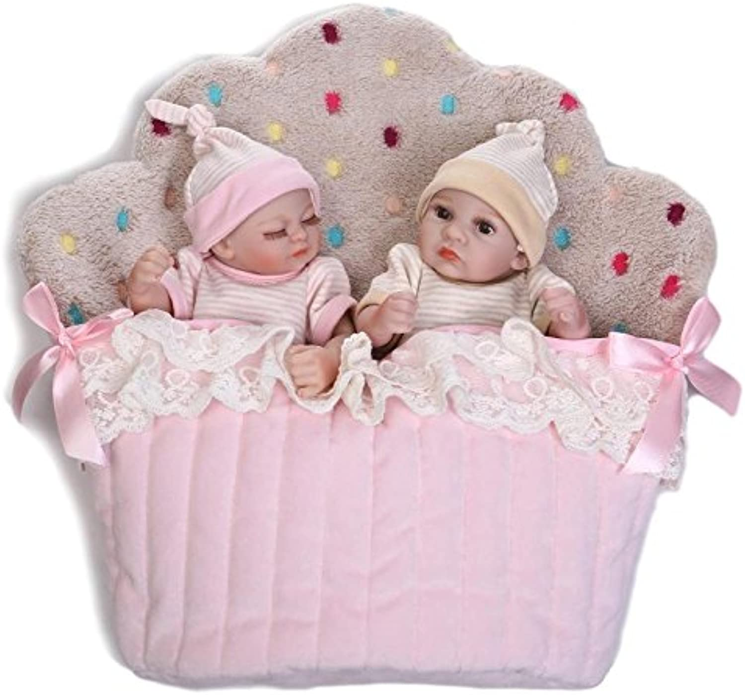 NPK Collection Tiny Reborn Baby Doll Twins Full Silicone 11inch 26cm Newborn Silicone Baby Dolls Twins Kids Bathing Sleeping Doll Collectible Toy
