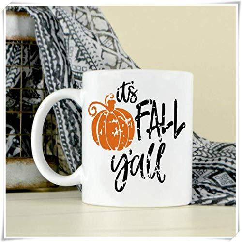 Tazza da caffè Fall Y 'all Pumpkin - Tazza Fall - Cioccolata calda - Tè caldo - Caffè, 11oz Tazza da caffè in ceramicaTazza da tè, Lucida