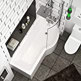 Abacus 1600 x 850mm Right Hand P-Shaped Shower Bath Bathtub with Acrylic Front & End Panel + Glass Shower Screen