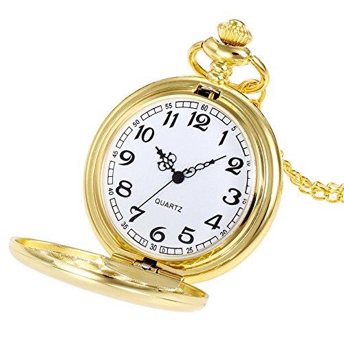 Uhren Herren Wasserdicht Sport Edelstahl-Quarz-Militärsport-Lederband-Vorwahlknopf Crown Unisex Mode Bronze Kette Halskette Taschenuhr (Gold)