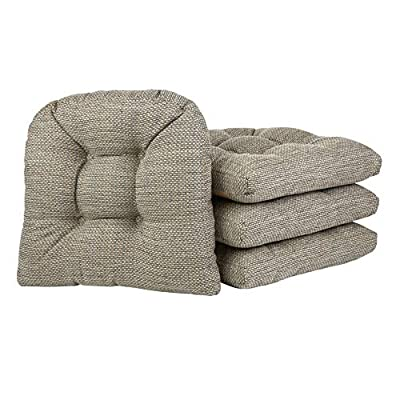 Klear Vu Tyson Gripper Universal Non-Slip Overstuffed Dining Chair Cushion, 4 Pack, Natural 4 Pack