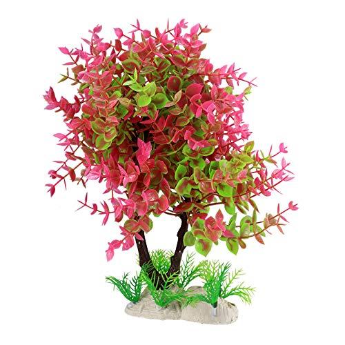 Aquarium Deko Pflanzen, Aquarium Wasserpflanzen, Künstliche Aquariumpflanzen, Aquarium Dekoration, Kunststoff Dekorative Pflanzen - Rotwein/12 Zoll