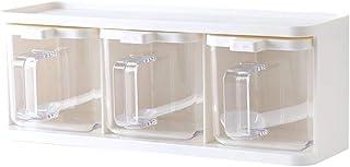 3 Grids Seasoning Box Transparent Seasoning Box, Seasoning Storage Container for SPice Salt Sugar Cruet,Condiment Jars with Spoons