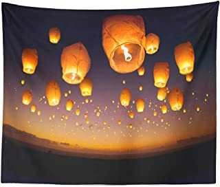 LILYMUA City Tapestry Wall Hanging, Group Chinese Flying Lantern Event Culture Peace Wish Home Decorations Wall Tapestry for Bedroom Living Room Dorm Home Decor Bedspread 60L X 80W