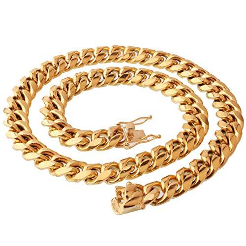 Aienid Colgantes De Acero para Hombre Collar De Cadena De Eslabones Cubanos Oro Collar para Hombres Longitud:18-36 Inch