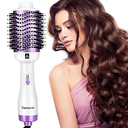 Damenie Ionen-Haartrockner,Upgrade 5 in 1 Stylingbürste Hair Dry und Volumizer Styler Negativer Lonic Föhnbürste Haarglätter Flauschiger Kamm Lockenbürste für Alle Styling(Weiß Lila)