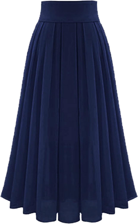 OMZIN Womens High Waist Chiffon Pleated Skirt Midi Maxi Swing Skirt Calf Length Skirts