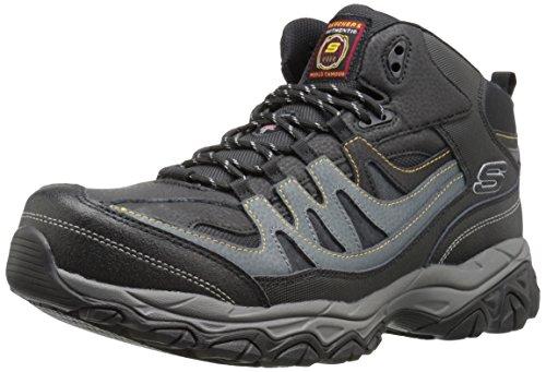Skechers mens Holdredge Rebem Work Boot, Black Leather/Charcoal Trim, 11 US