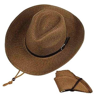 ARHSSZY Western Foldable Straw Cowboy Hat Wide Brim Sun Hat Panama Hat UPF 50+ Coffee