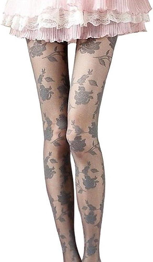JYS Women Fashion Rose Pattern Tight Lace Pantyhose Sexy See-through Stockings