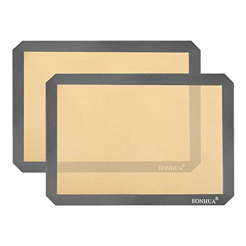 Silicone Baking Mat Sheet Set of 2- Reusable Baking Mat Nonstick - Half Sheet Baking Mat For Oven (Size 16.5' x 11.6') Grey