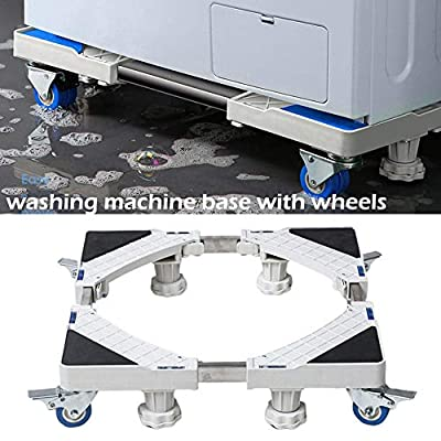 Universal Movable Washing Machine Base with Wheels - Refrigerator Holder with Caster, Heightened Anti-Slip Stainless Steel Base Tray for Refrigerator Freezer Washer Dryer