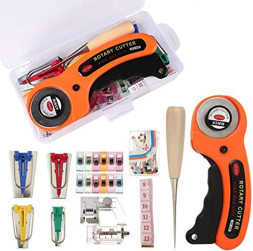 Bias Tape Maker SetRotary Cutter Bias Tape Maker 4 Size Ball Pin Sewing Clips Awl Binding Foot