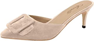 Mule Slippers for Women,Pointed Toe Slides Buckle Kitten Heels Backless Dress Sandals