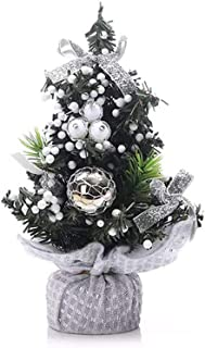 Mini Tabletop Desktop Artificial Christmas Tree Decor with Bows and Baubles Ornaments Decorations, 8 inch Tall (Silver)