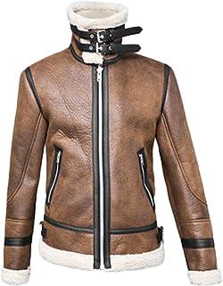 Sunward Stylish Coat for Men,Men Autumn Winter High Neck Warm Fur Liner Lapel Leather Zipper Outwear Top Coat