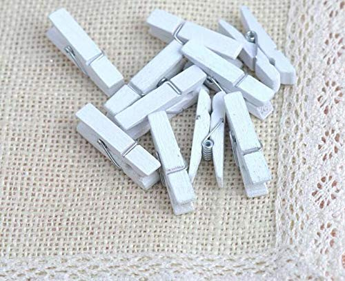 iKammo 50PCS Wood Clothespins Mini Natural Wooden Clips Photo Clips Natural Wooden Peg Pin Compatible Gift Wrapping, Picture Hanging, Arts&Crafts, Photo Display (White, 3.50.7cm)
