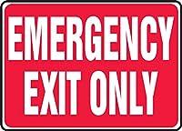 "Accuformの印MEXT586VSのビニールの安全サイン、凡例""緊急出口のみ""、7""長さx 10""幅x 0.004""厚さ、赤、白"