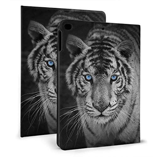 Ipad 9.7 Case 2017 2018, Ipad Air 1 2 Case, Ipad Case with Auto Wake/Sleep Function, White Tiger Pattern Leather Protect Cover with Adjustable Stand Angle