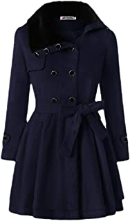 Macondoo Women Thicken Faux Fur Collar Outwear Double-Breasted Pea Coats
