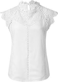 Camisetas Mujer, Blusas para Mujer Verano Sexy Hueca Sin Mangas con Encaje Tops Tops Camisa Elegante Camiseta De Fiesta Casual Blusas 2019 Tops Mujer Sexy