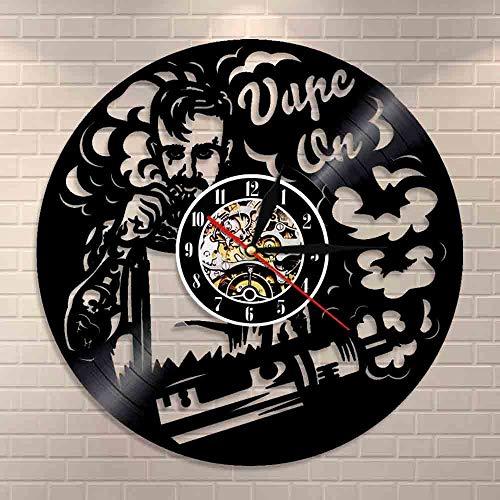 GVC Vape Shop Wandschild Logo Wanduhr Elektronische Zigarette Vinyl Schallplattenuhr Vaporizer Vape Cafe Smoke Shop Wanddekoration Vape Geschenk