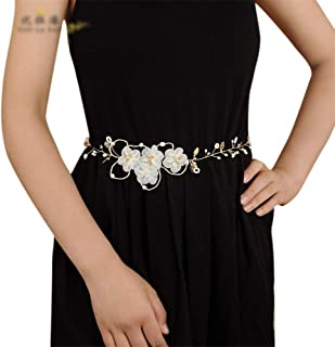 ZYDP Bride Belt Flower Pearl Bridal Accessories Wedding Dress Belt (Color : Purple)