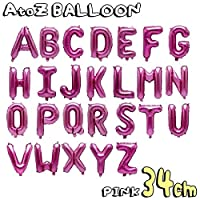 アルファベット 文字 パーツ 風船 34cm 小さい ピンク デザイン アルファベット文字バルーン 飾り 立体 英語 ぺたんこ配送