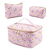 SAMZSKY Makeup Bag Set, 3 Pcs Portable Travel Cosmetic Bag Waterproof Organizer Case with Zipper Toiletry Bags, Gift for Women (Pink)