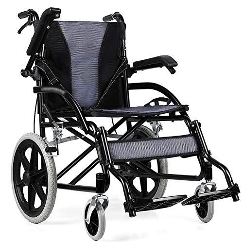 DGPOAD Silla De Ruedas Plegable Y Autopropulsable | Pedal Plegable | Aluminio | Gran Seguridad Y Robustez | Asiento Y Respaldo Ergonómicos | Ancho del Asiento: 44cm | Peso Máximo Soportado 100 Kg