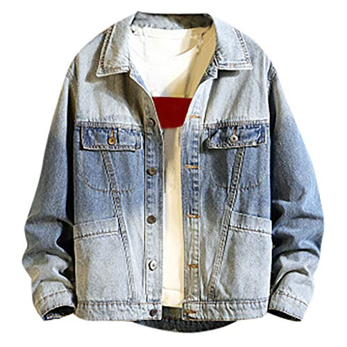 MIS1950s Men's Denim Jacket Trend Stitching Jeans Coat Rugged Trucker Jacket for Man