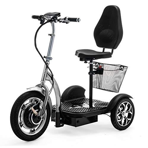 VELECO driewielige elektrische scooter ZT16 voertuig e-scooter senior mobiel (zilver)