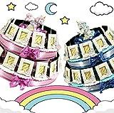 Cornice portafoto per bomboniere Battesimo Maschietto Femminuccia Unicorno Torta portaconfetti (Torta da 12 fette)
