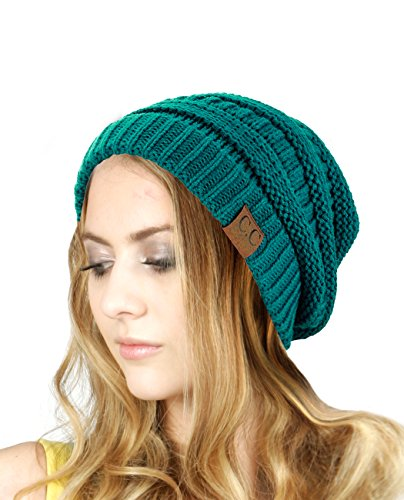 Trendy Warm Chunky Soft Stretch Cable Knit Slouchy Beanie Skully HAT20A, Teal