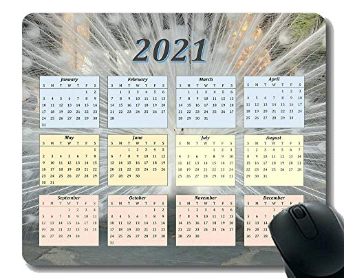 Calendar 2021,Seasons of Different Colo Mouse Pad,Aerial View of Starfish On Sand Mouse Pad with Stitched Edge