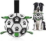 MYPIN Pelota de fútbol para perros con lengüetas, juguetes interactivos para tirar de guerra, juguete para tirar de perros, juguete de agua para perros, bolas duraderas para perros pequeños y medianos