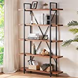 HSH Solid Wood Bookcase, 5 Tier Industrial Rustic Vintage Etagere Bookshelf, Open Metal Farmhouse Book Shelf, Distressed Brown