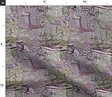 Spoonflower Stoff – Lila Grau Lavendel Collage Abstrakt