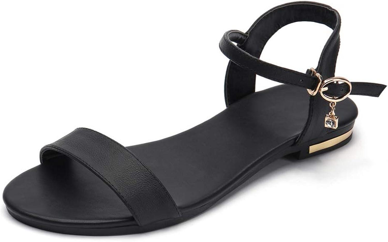 JOYBI Women's Ankle Buckle Strap Flats Sandals Open Toe Faux Leather Lightweight Beach Casual Slingback Sandal