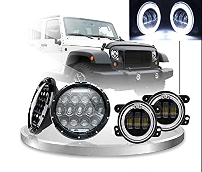 LWD 75W 7inch Jeep LED Headlights with White DRL/Amber Turn Signal + 4 inch LED Fog Lights with White DRL Halo Ring for Jeep Wrangler 97-2017 JK LJ Tj