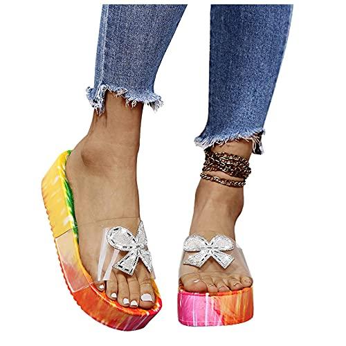 SOFIALXC Sandals for Women Platform,Comfy Tie Dye Flatform Sandal Shoes Beach Summer Travel Fashion Roman Shoes