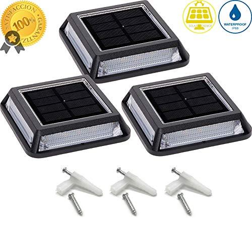 Luces Solares para Exterior Jardin LED TECNOLOGÍA 360°, Luz Blanco Cálido Impermeable,...