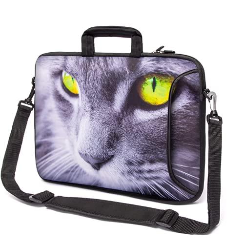 """Funky Planet 15\""""- 15,6\"""" Zoll Tablet-Laptop-Notebook MacBook-Tasche mit Griff und Tragetasche Schutzhaut (15h/s Two Queens) (Grey cat)"""