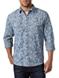 Wrangler Men's Retro Two Pocket Long Sleeve Snap Shirt, Denim, Small