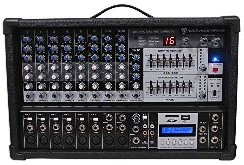Rockville 12 Channel 4800w Powered Mixer, 7 Band EQ, Effects, USB, 48V (RPM109)
