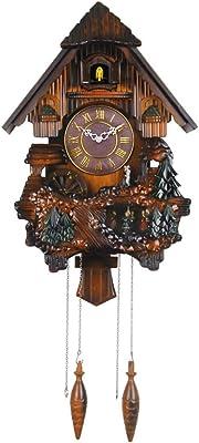 SX-ZZJ Wall Clocks Cuckoo Clock Pendulum Quartz Wall Clock Non-Ticking Forest House