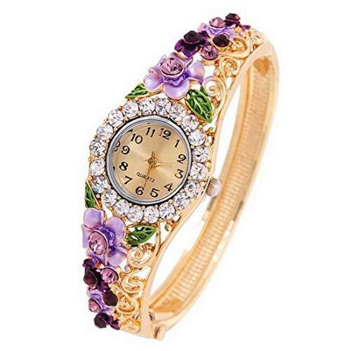 Diseño Floral Reloj Cristalino De Cuello & Kada Reloj De Pulsera para Mujeres