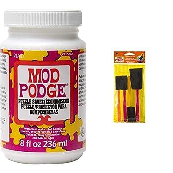 Mod Podge Puzzle Saver  8-Ounce  CS15068 & Podge FBA Scrapbooking Foam Brush Set  4-Piece  Assorted 4 Count