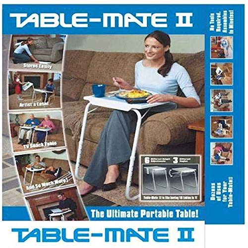 Whosave Mate II Portable Adjustable Folding Table, Metal, White, 20.79 x 15.98 x 2.36 cm