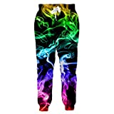 Losturban Mens 3D Print Smoke Jogger Pants Graphic Space Trouser Sweatpants 2XL